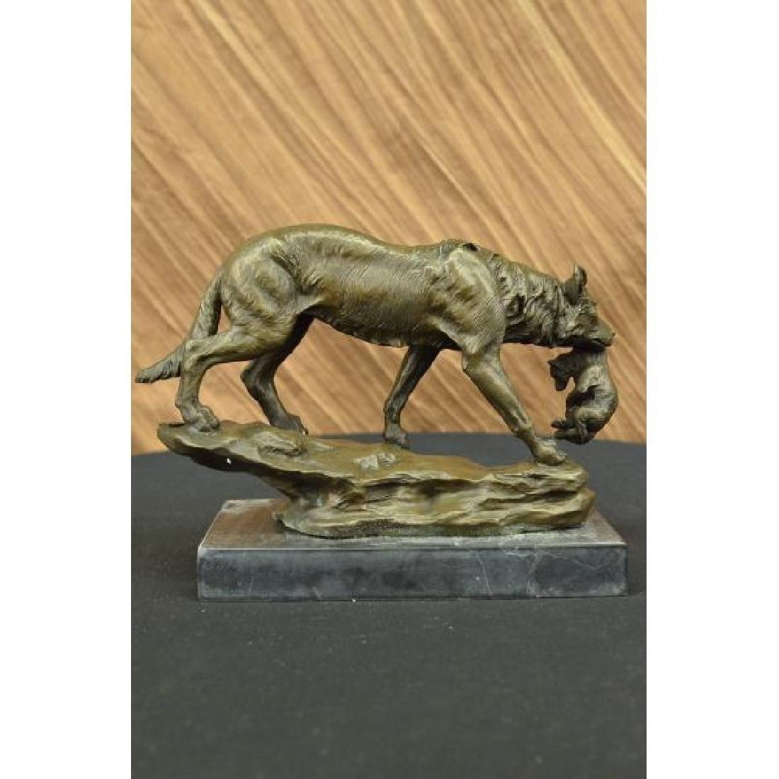 Art Deco Marble Bronze Sculpture Statue Wild Wolf