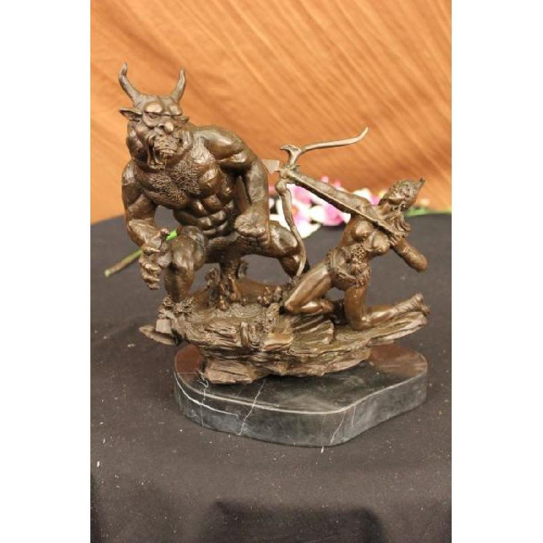 Mercie Beautiful Woman Warrior Fighting Demon Bronze