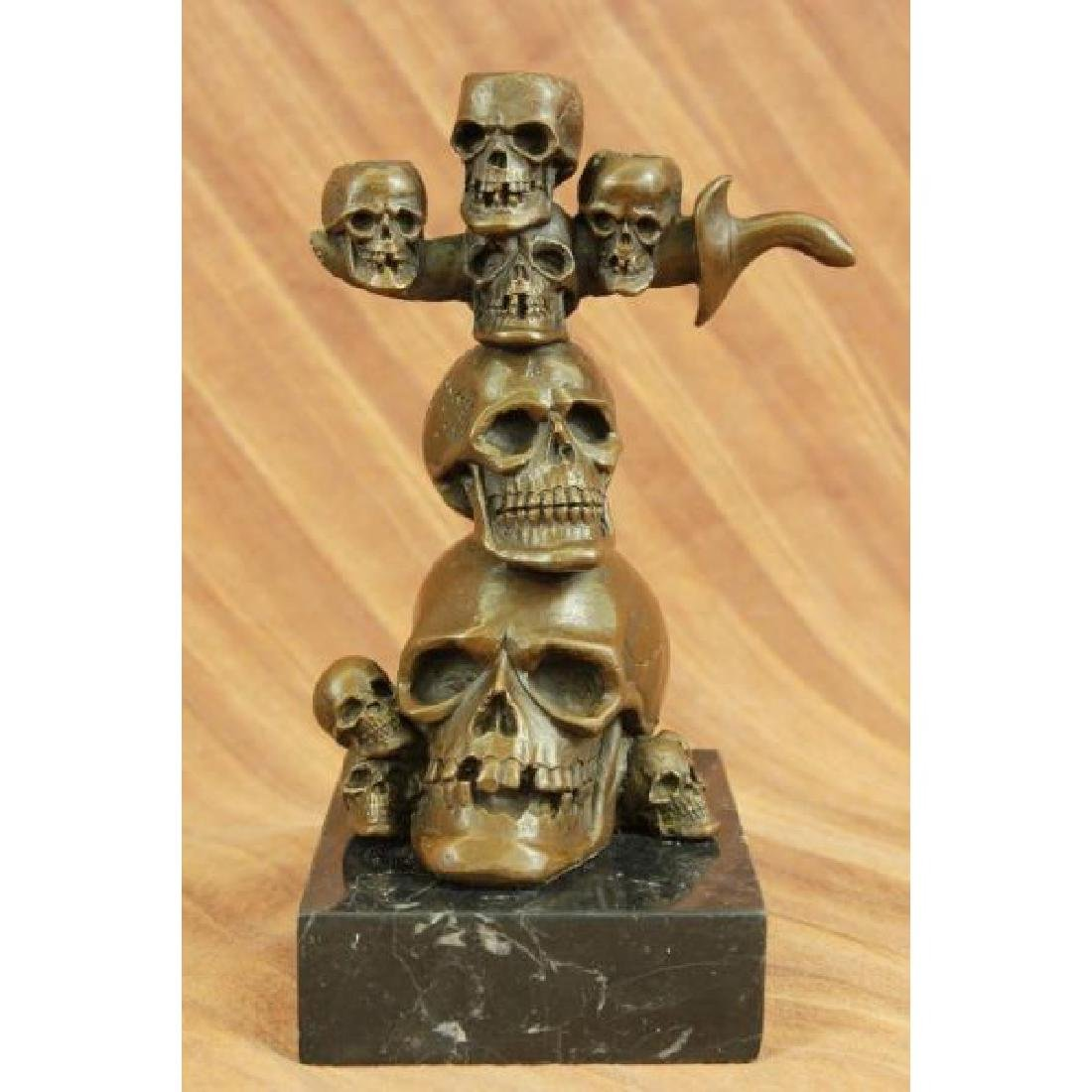Skull Skulls Sword Home Office Decor Bronze Sculpture