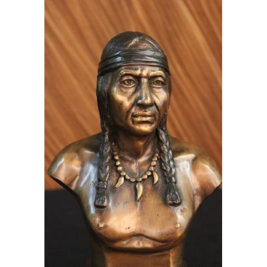 Native American Indian Warrior Chief Bronze Bust