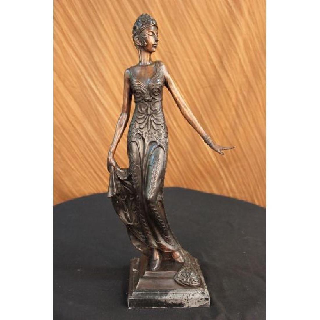 Bronze Sculpture Gorgeous Flower Woman Blossom Art