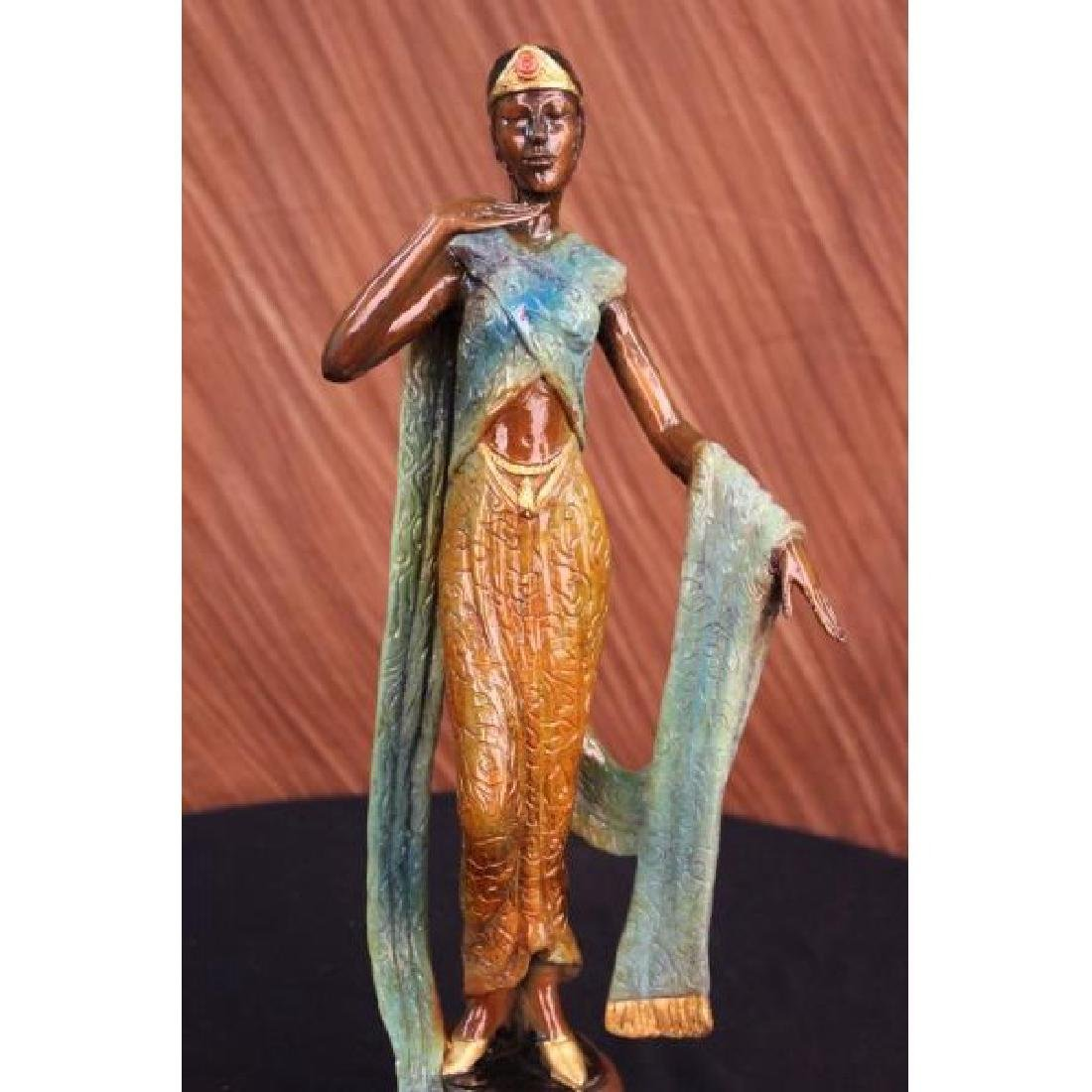 Art Deco Green and Gold Patina Egyptian Princess with