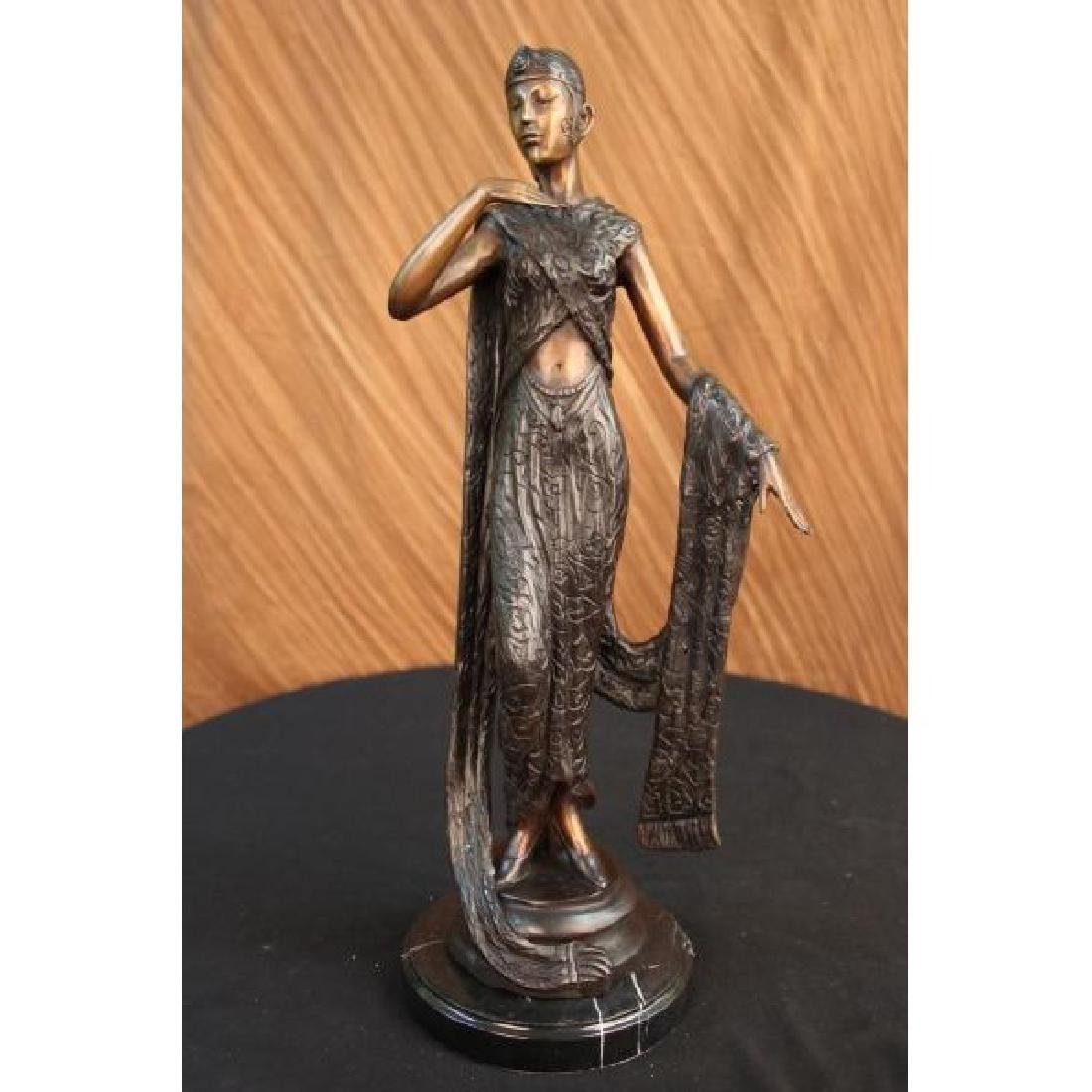 Art Deco Ribbon Dancer Bronze Sculpture Marble Base