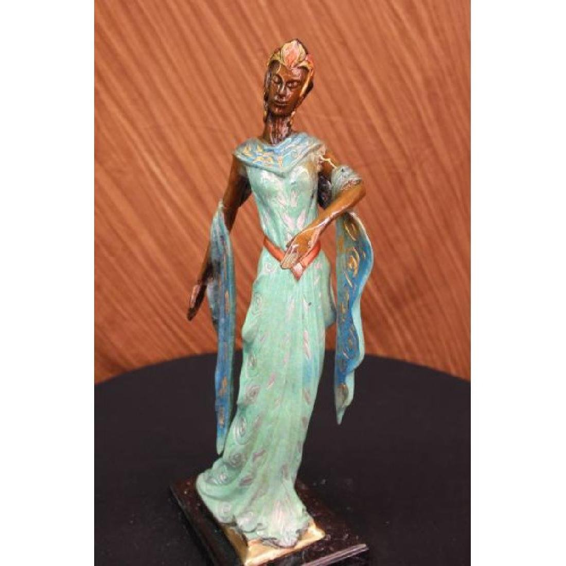 Bronze Sculpture Graceful Egyptian Dancer Model Marble