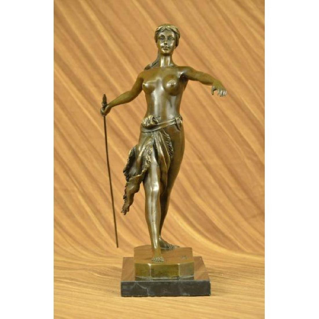 Diana the Huntress Elegant Bronze on Marble Base Statue
