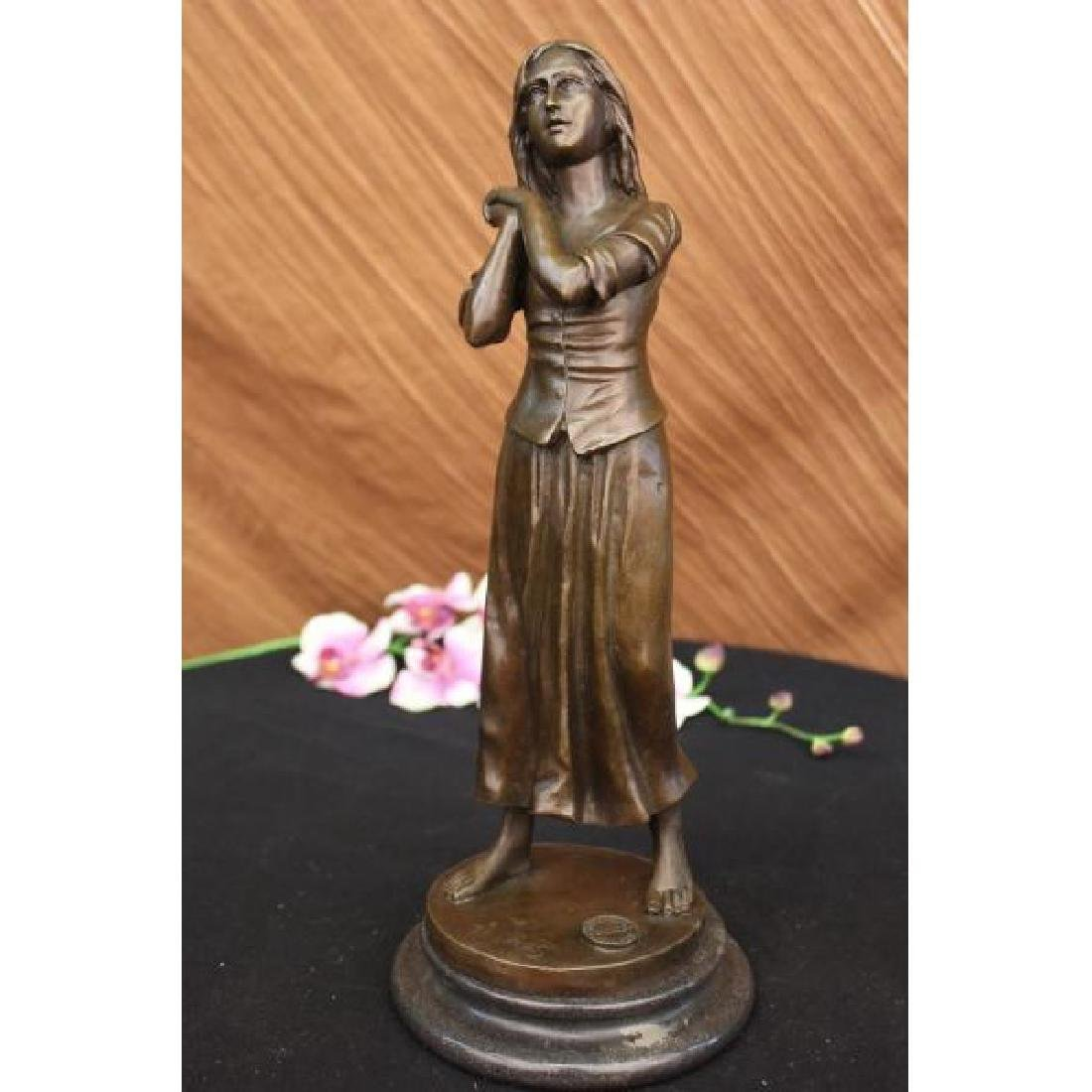 Maiden Bronze Sculpture Hot Cast Figure Art Deco Marble