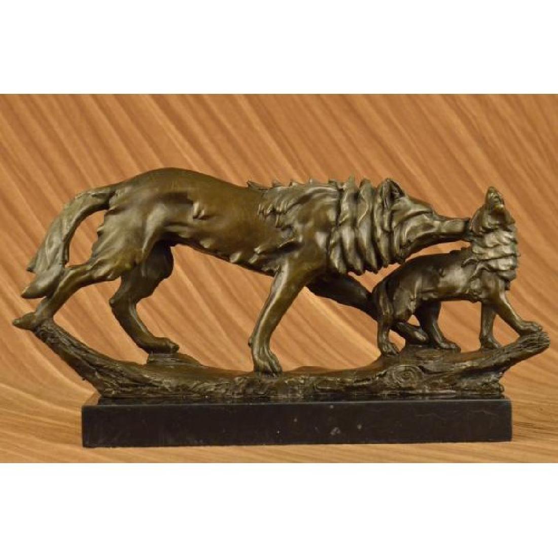 Art Deco Wolf protecting her cub Bronze Sculpture