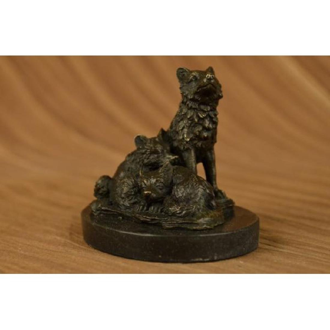 Barye Miniature Wolf Family Bronze Sculpture Marble