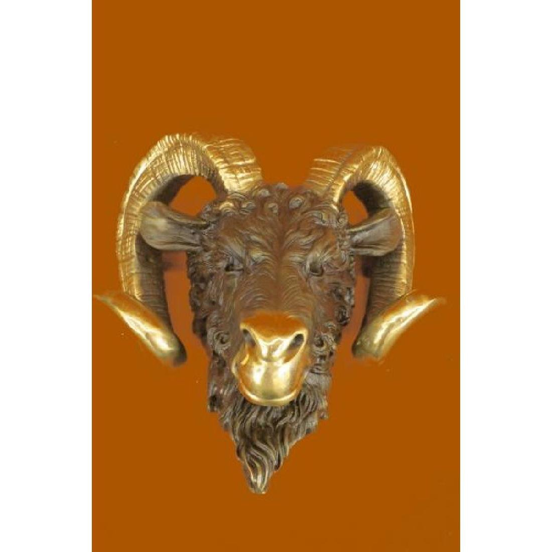 Mascot Ram Head Bronze Sculpture Marble Base Statue