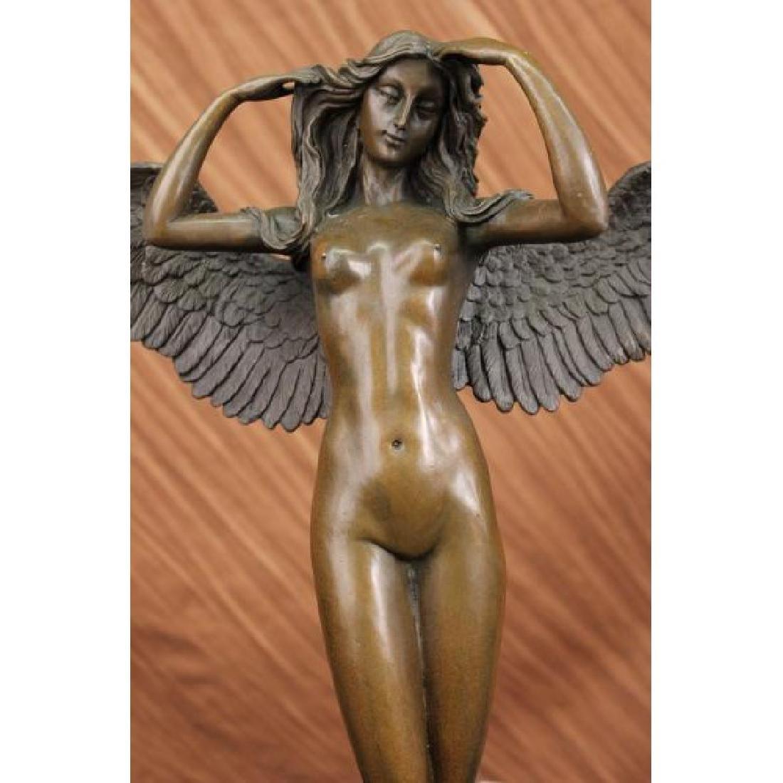 HUGE NUDE LADY ANGEL BRONZE STATUE BY WEINMAN MARBLE