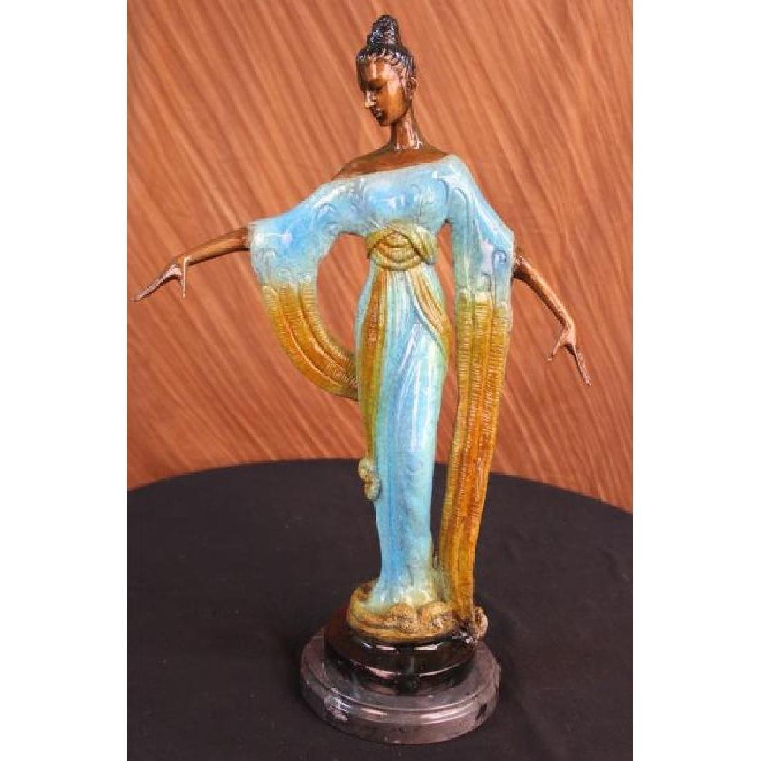 Bronze Sculpture Gorgeous Woman Blossom Art Nouveau