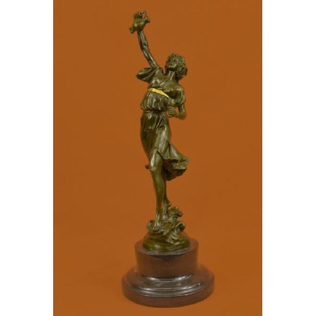 Genuine Bronze Metal Statue Marble Base Greek Lady Girl