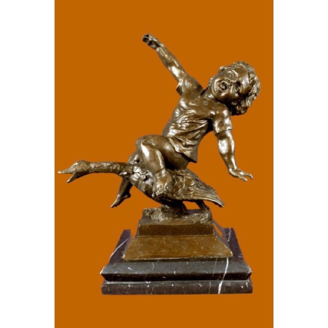 Young Girl Riding a Goose Bronze Sculpture Marble Base