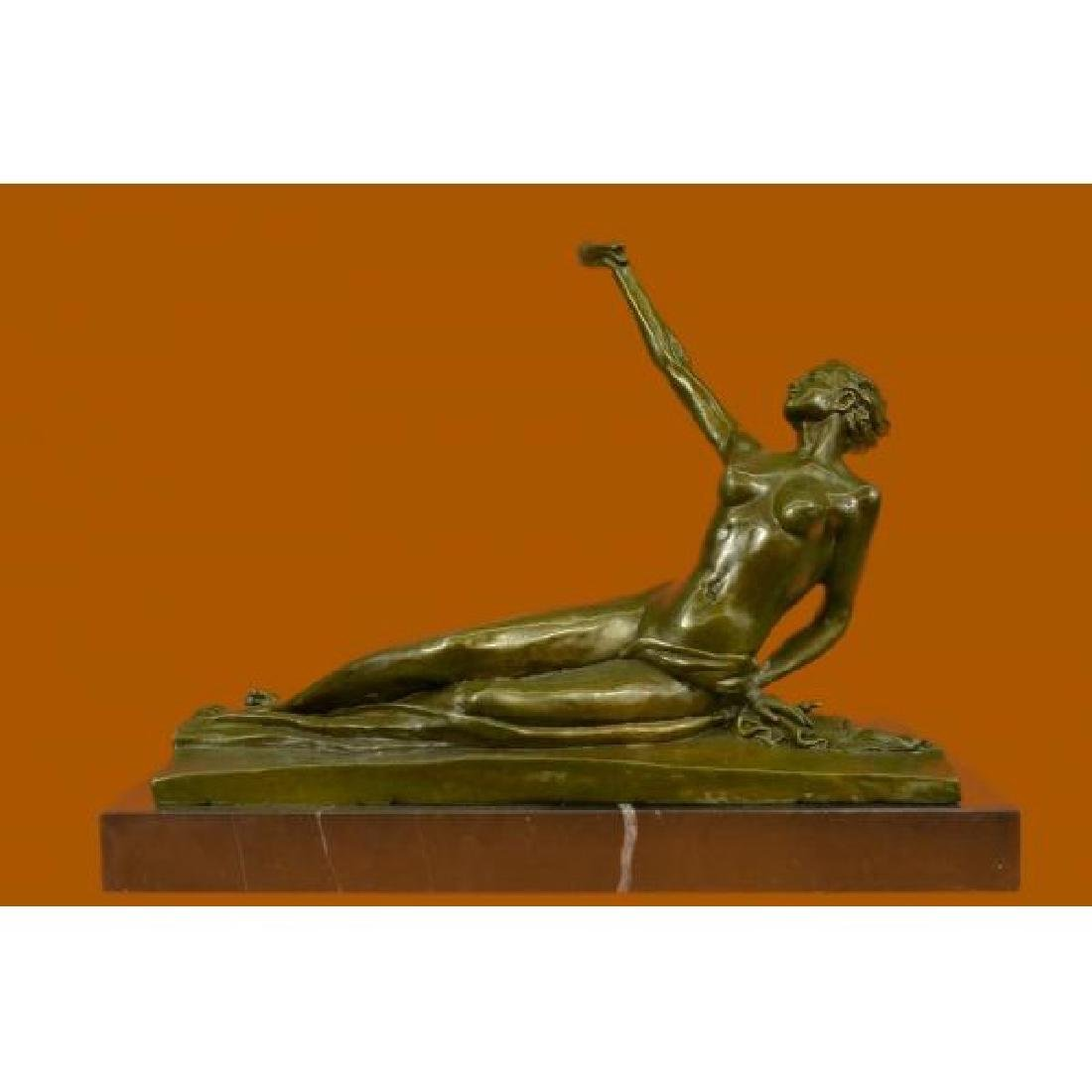 Art Deco Hot Cast Nude Female Bronze Sculpture Marble