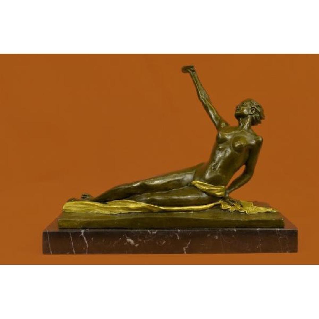 Gilt Bronze Large Nude Lady Bronze Sculpture Marble