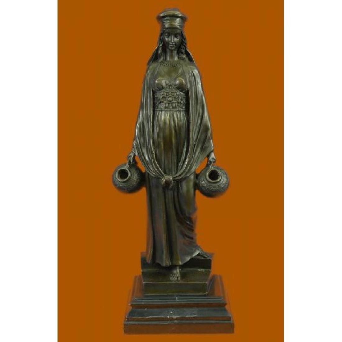 Erotic Lady Carrying Water Jugs Bronze Sculpture Hot