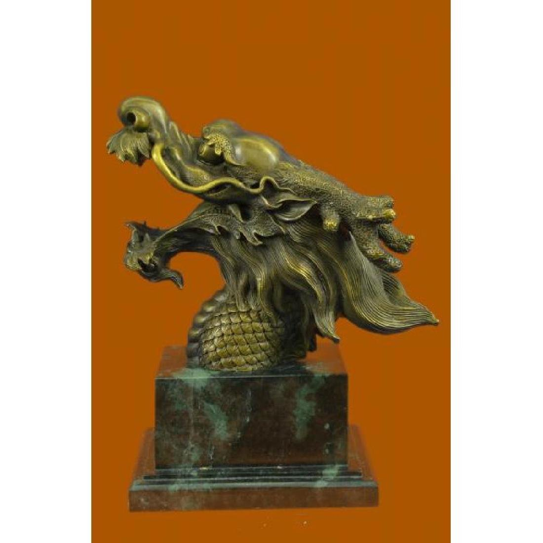 Hot Cast Detailed Dragon Head Bronze Sculpture Green