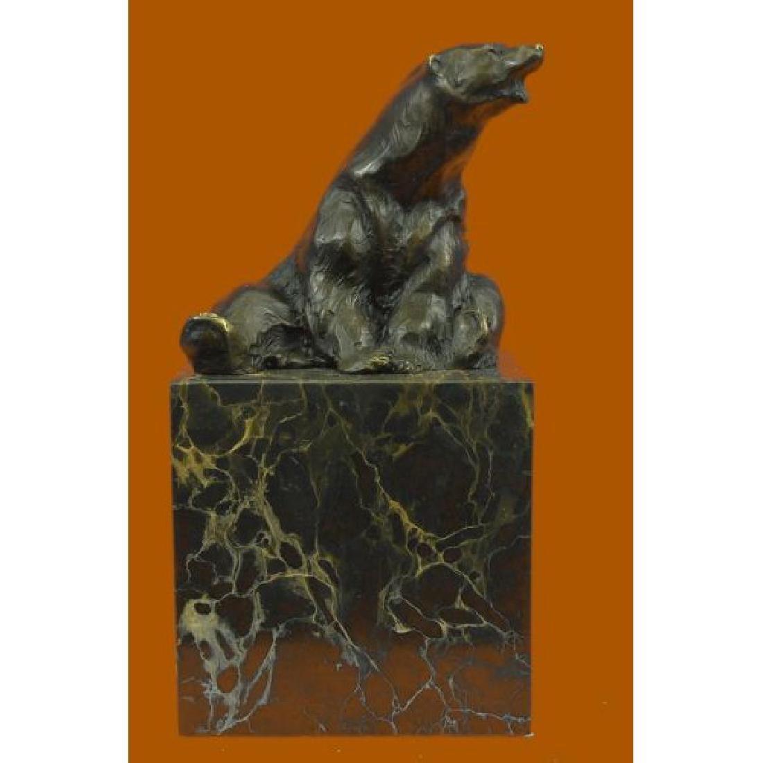 Art Deco Stylish Polar Bear Bronze Sculpture Marble