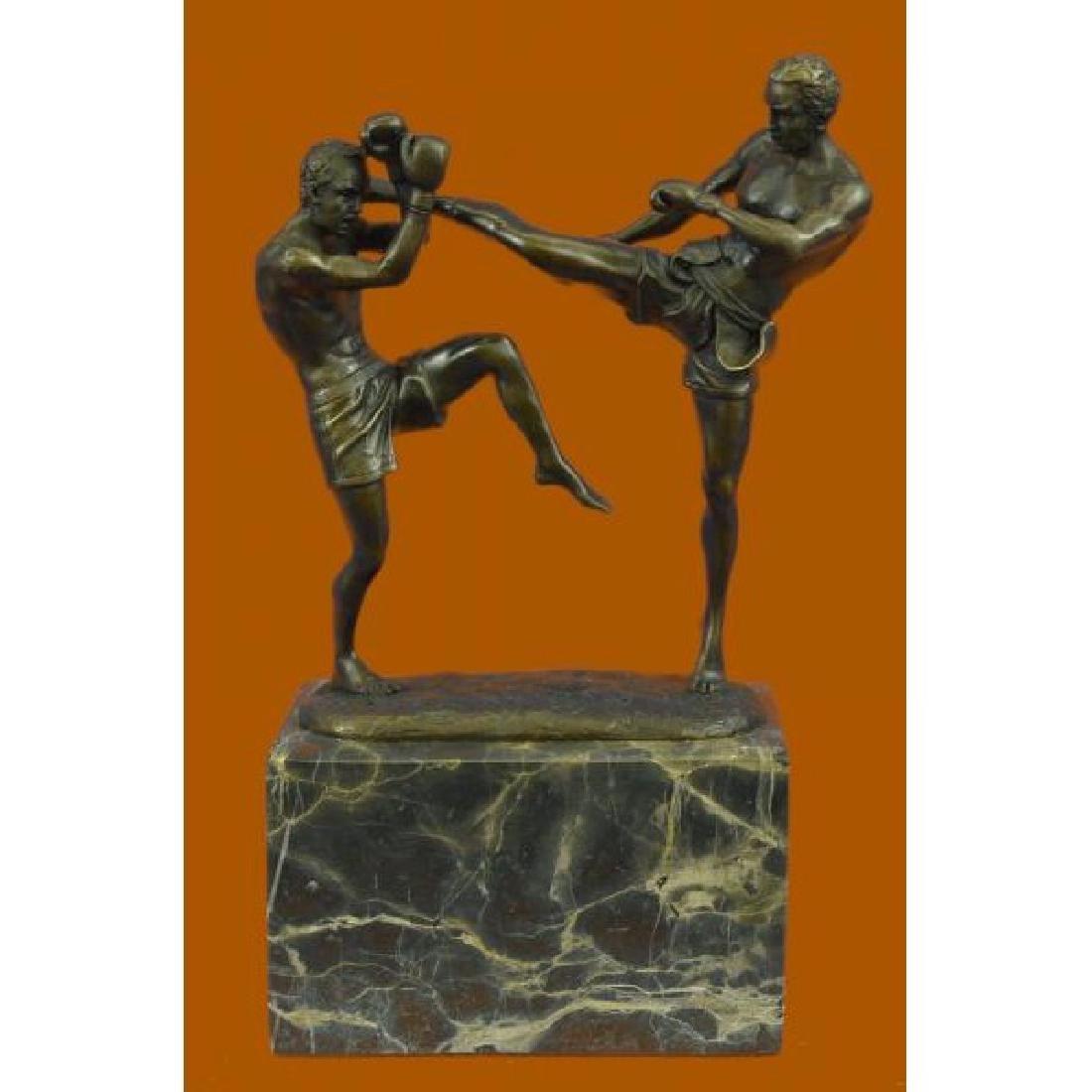 Milo Kick Boxer Boxers Bronze Sculpture Marble Base