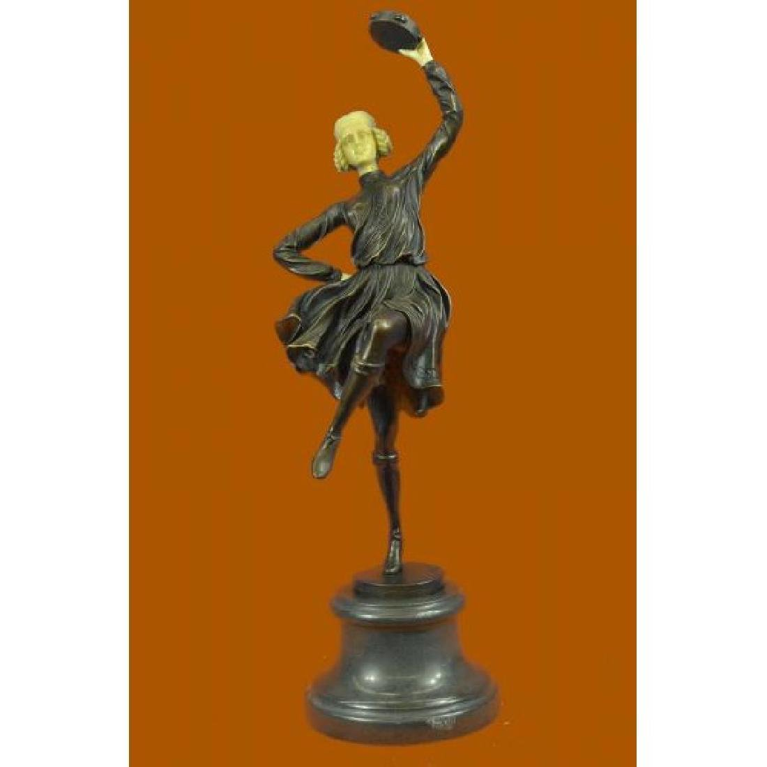Hot Cast Bronze Sculpture of a Tambourine Dancer By