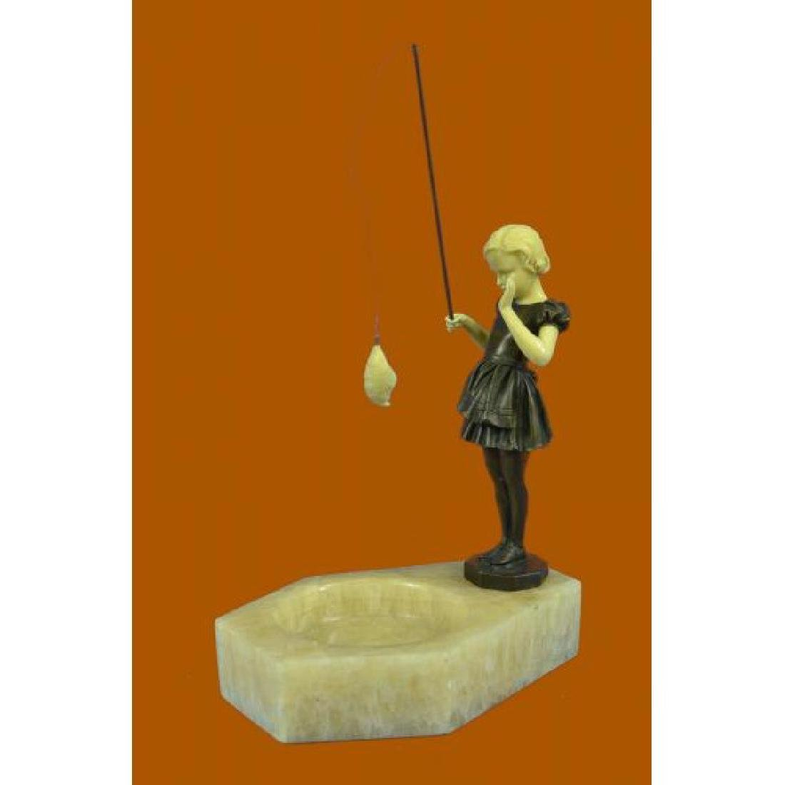 Hot Cast Cute Girl Fishing Ashtray Bronze Sculpture