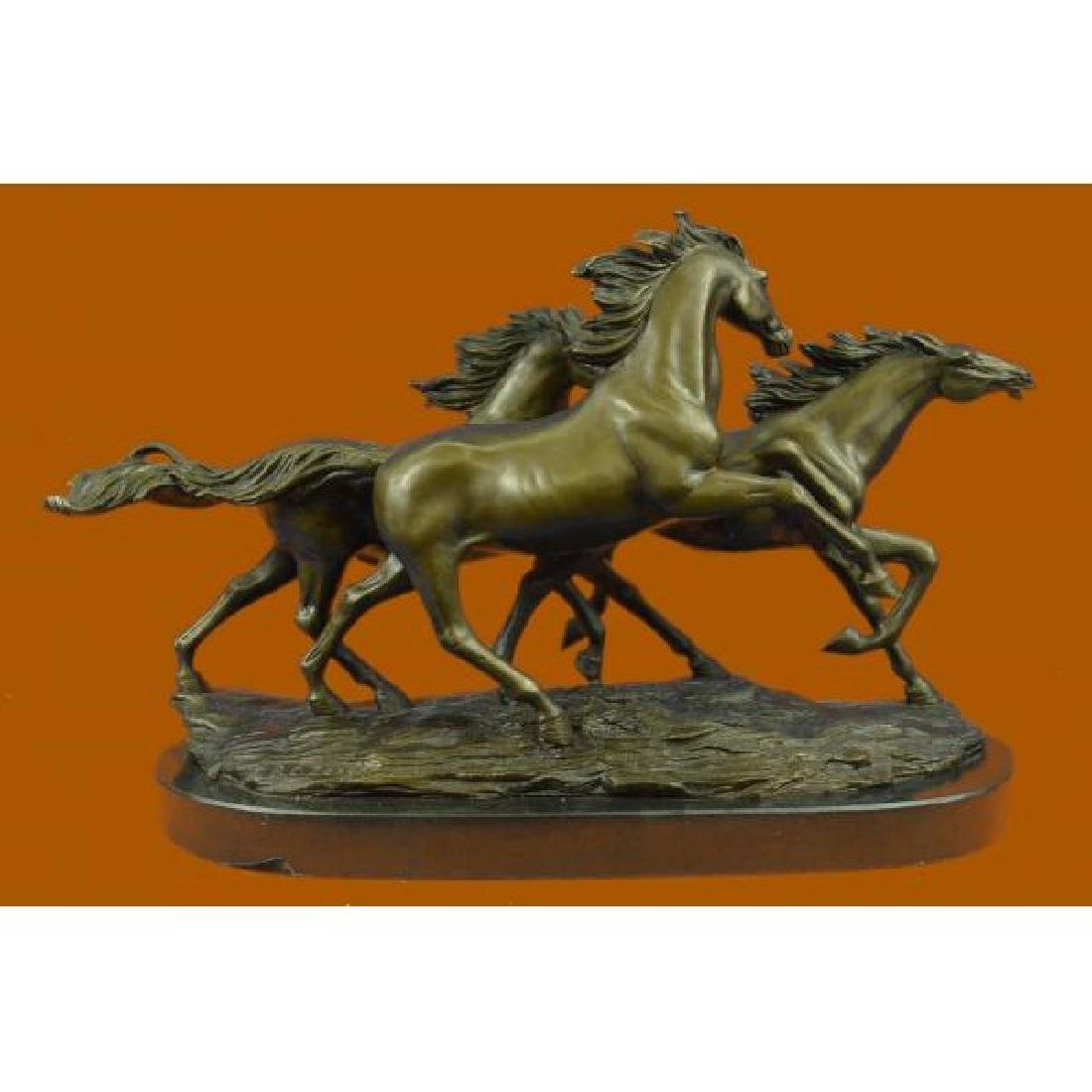 Bronze Marble Base Statue Wild Horse Galloping Mustang