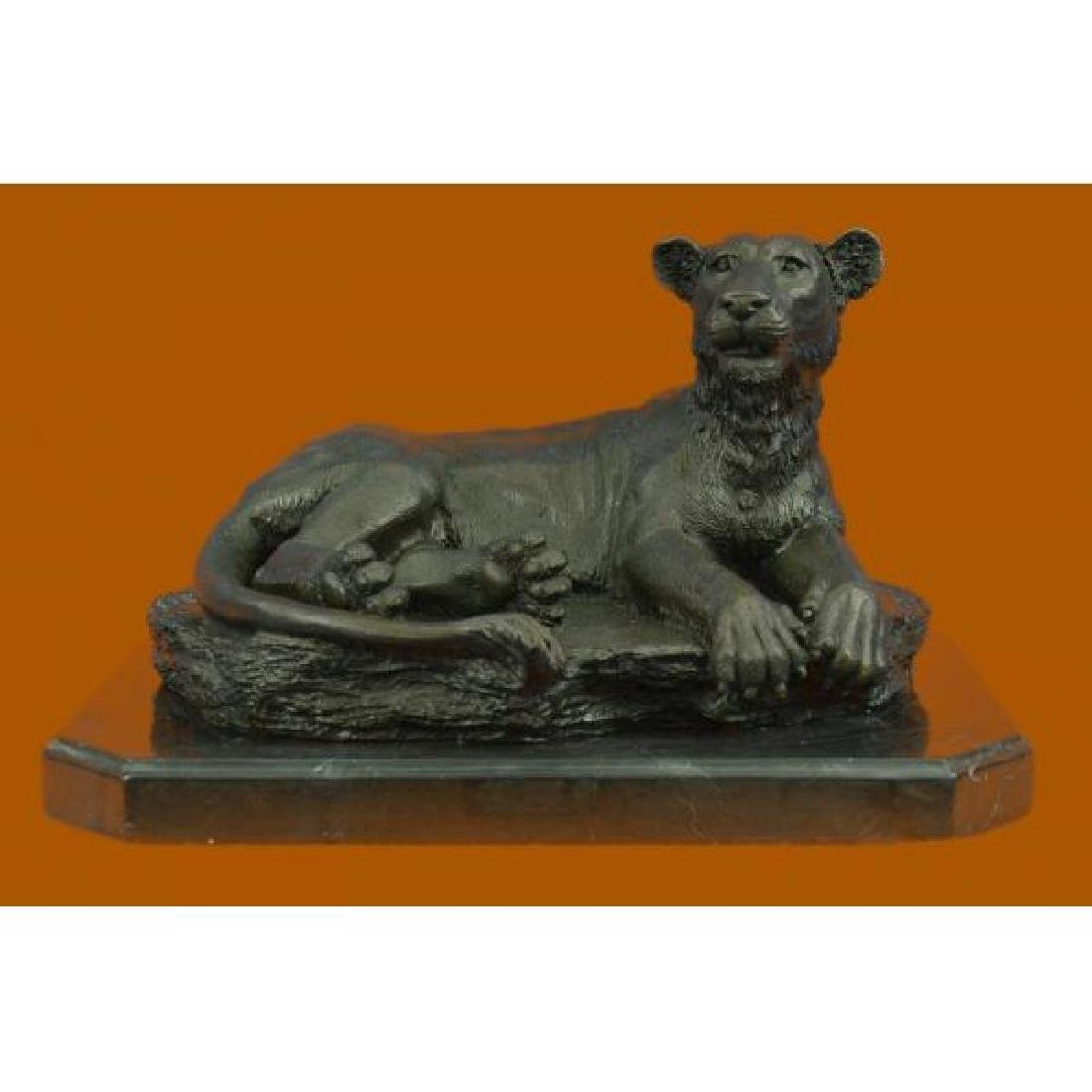 Art Deco Large Female African Wildlife Lion Bronze
