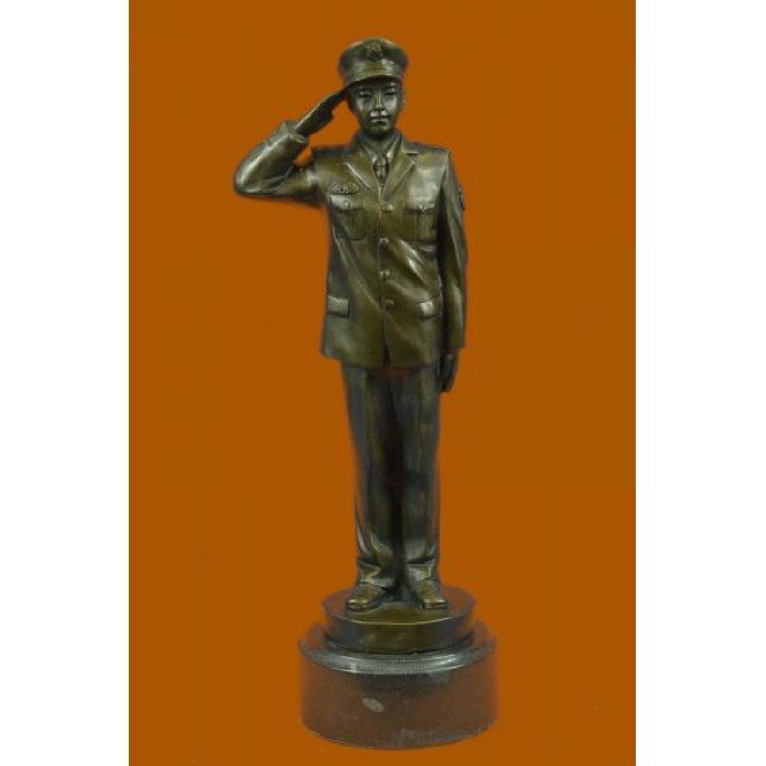 Hand Crafted Police Officer in Uniform Bronze Sculpture