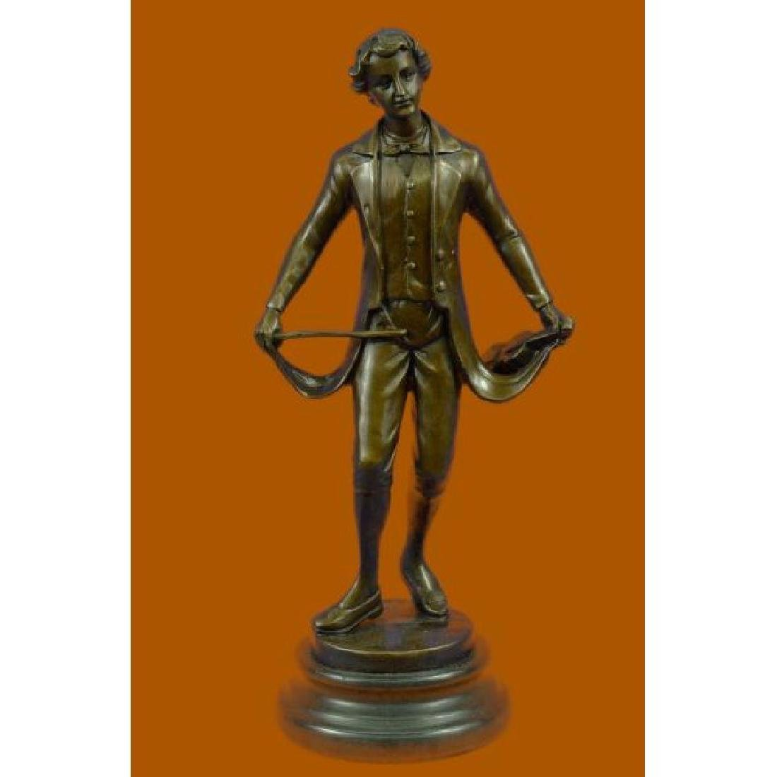 Taking a Bow by Besserdich Bronze Sculpture Marble Base
