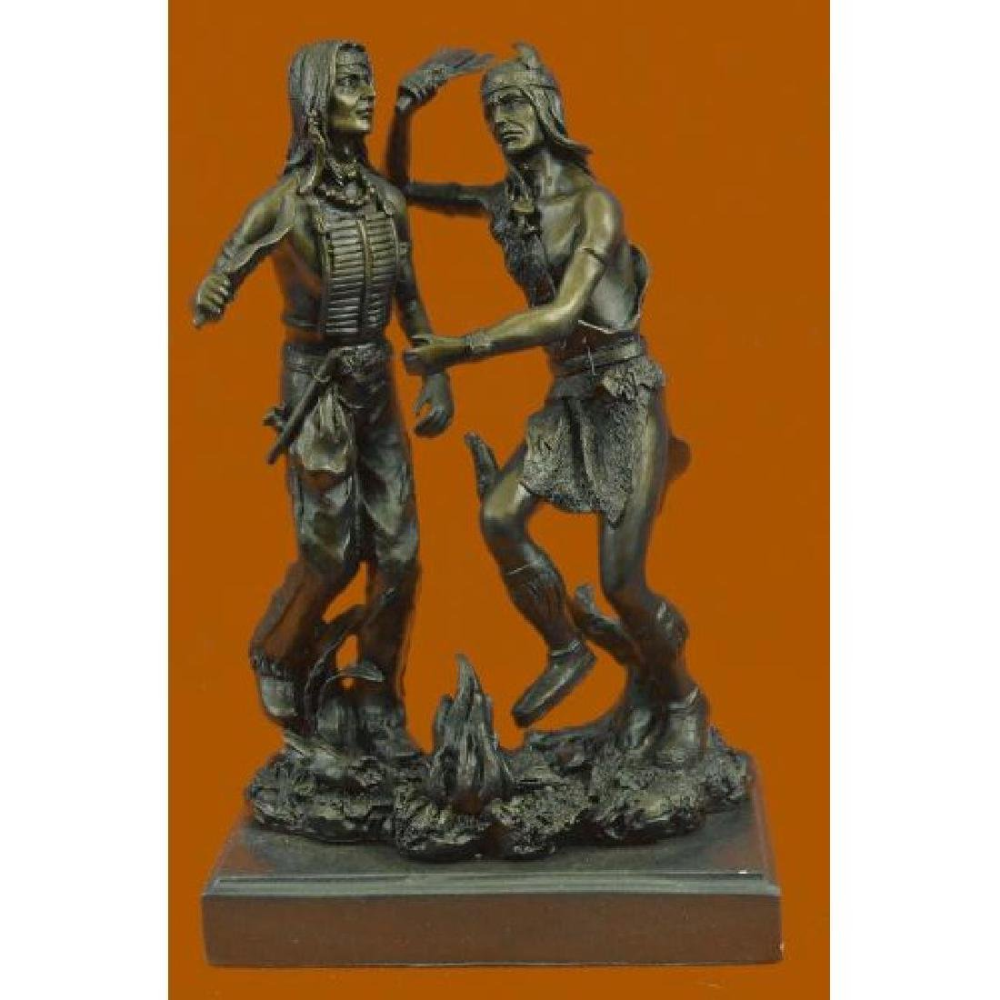 Art Deco Western West Native American Dancers Bronze
