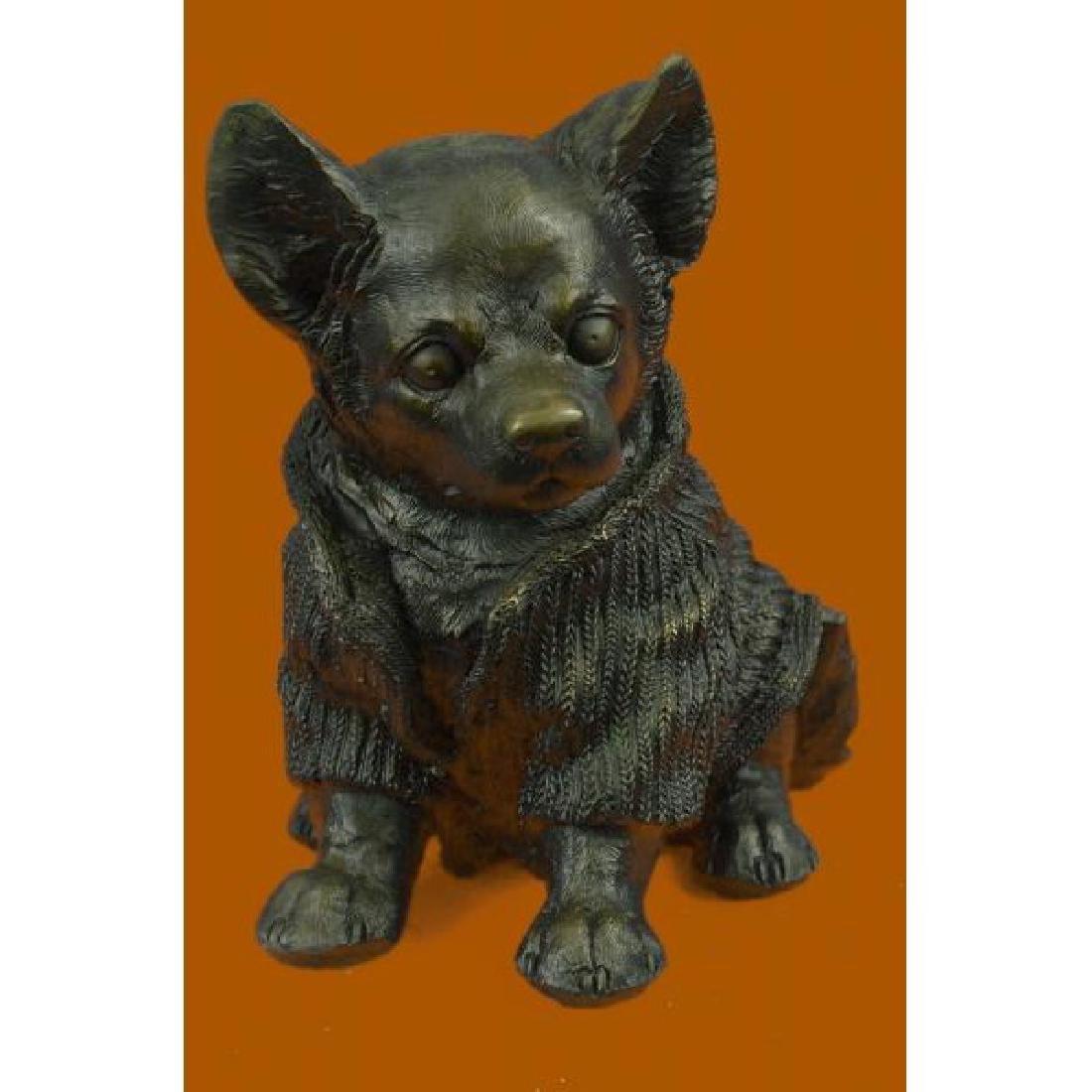 Cute Chihuahua Dog in Hooded Sweater Bronze Sculpture
