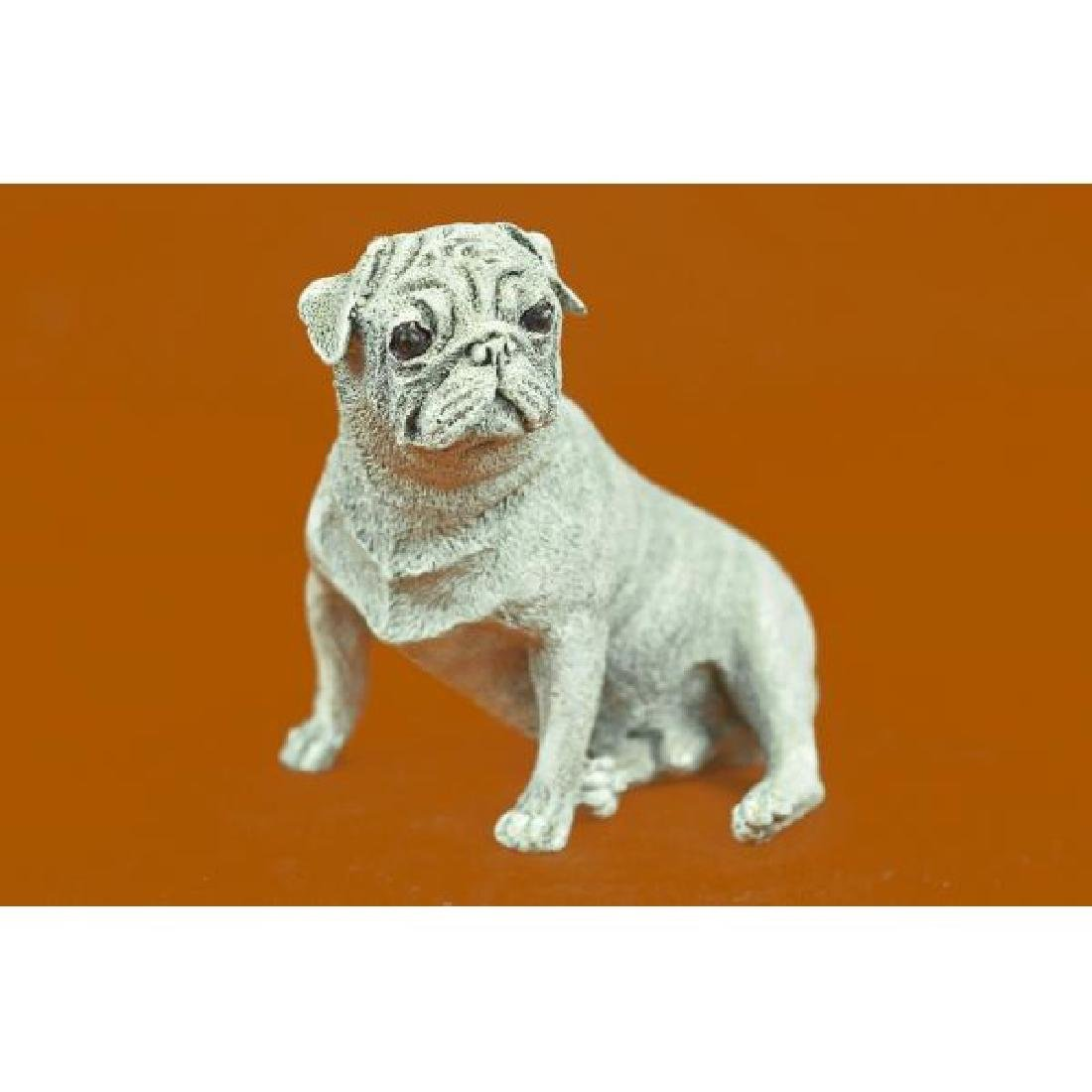Vienna Bronze Miniature Pug Dog Bronze Sculpture White