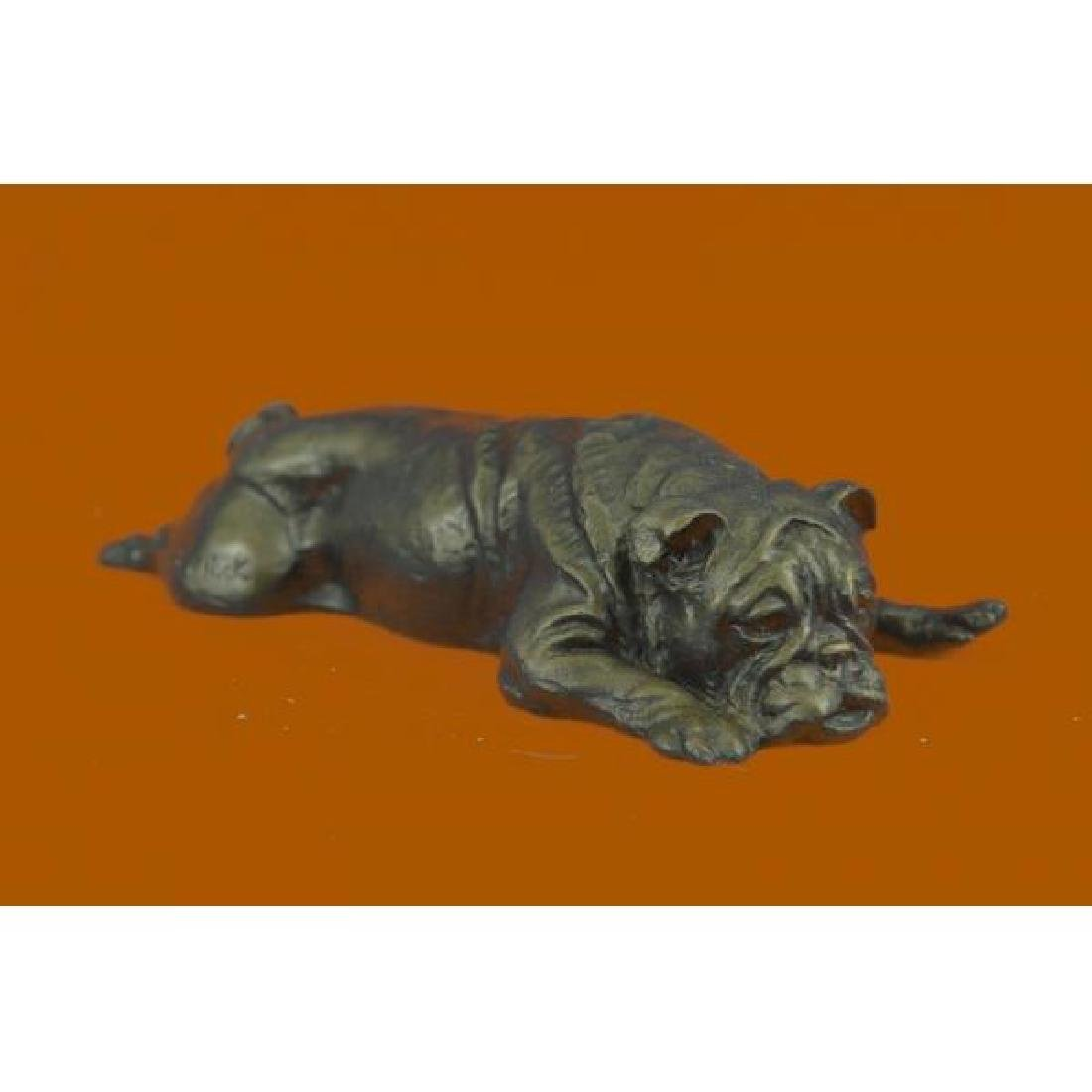 Adorable Sweet Little Bulldog Bronze Sculpture Statue