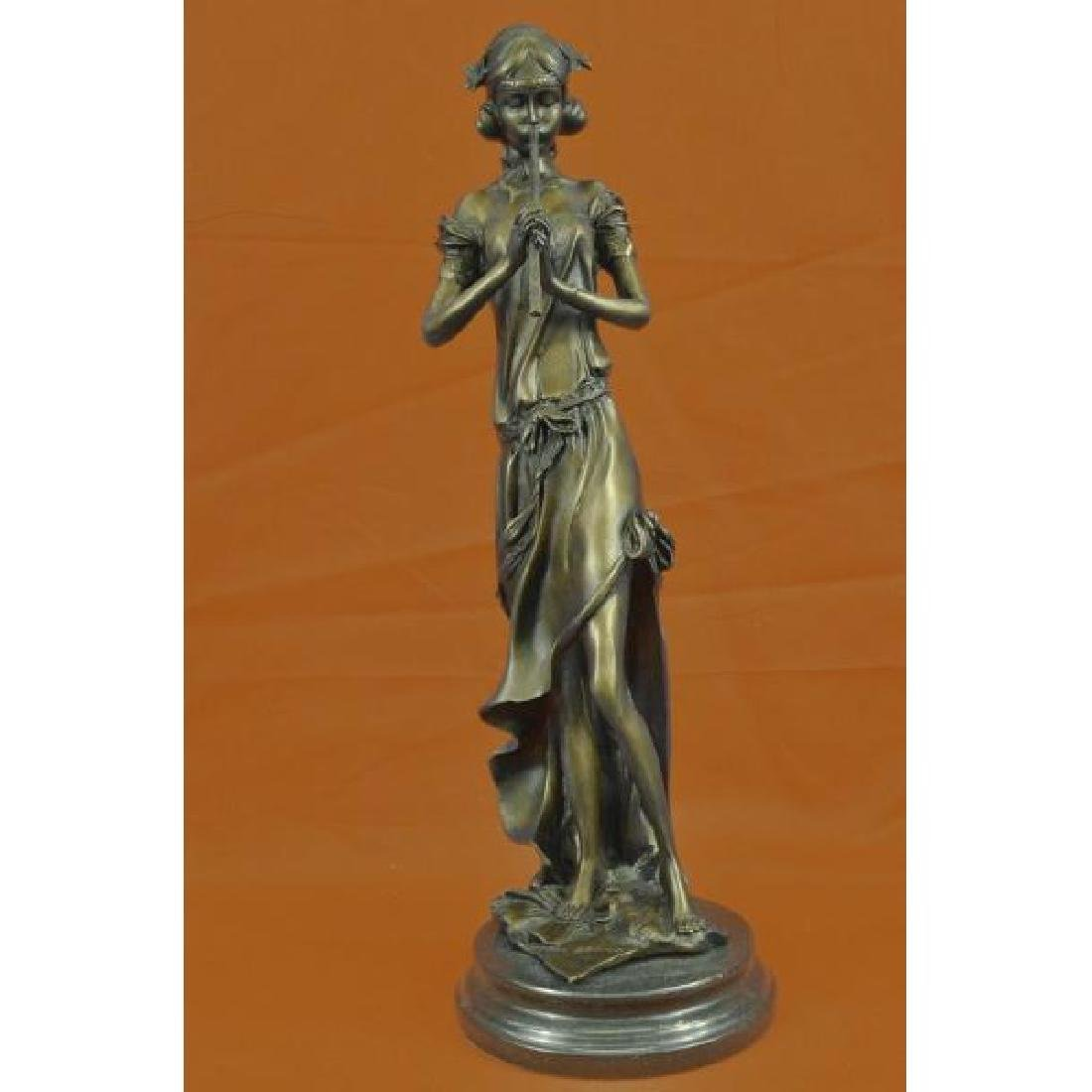 French Jean Patoue Female Flute Player Bronze Sculpture