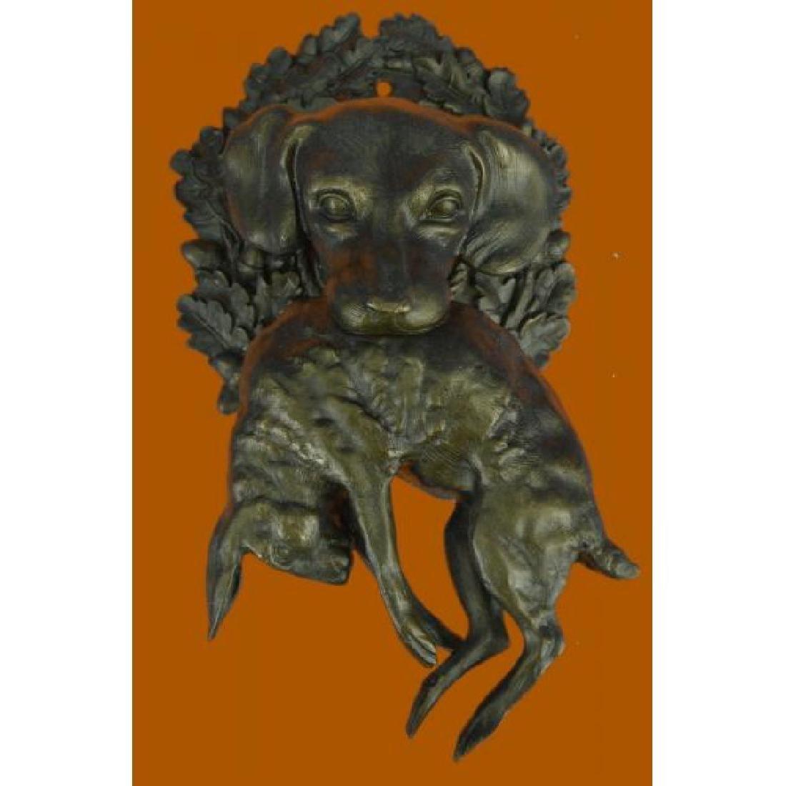 Hot Cast Wall Mount Hound Dog With Rabbit Bronze