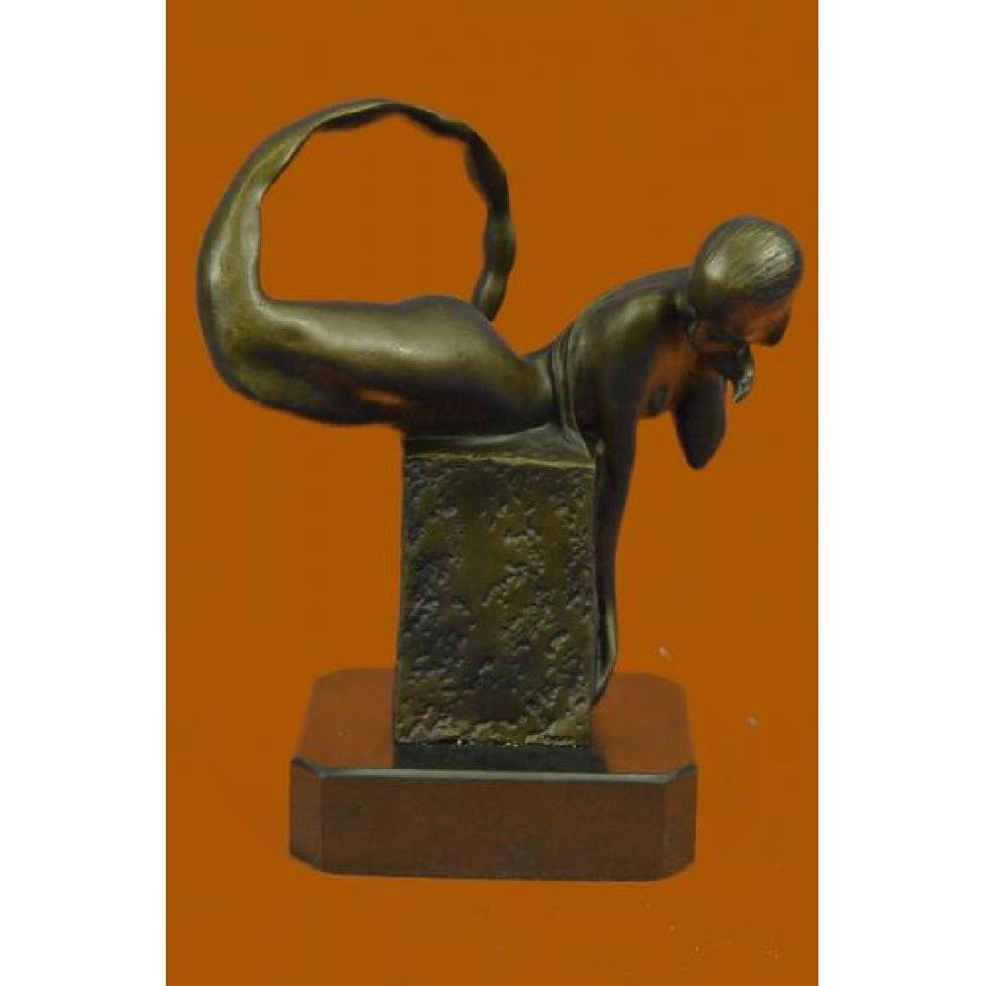 Handcrafted Art Deco Nude Naked Erotic Mermaid Bronze
