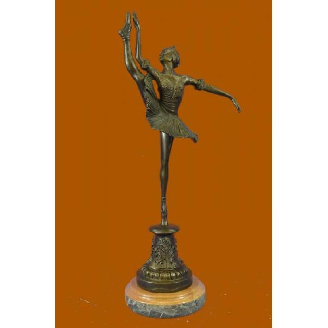 Art Nouveau Brown Patina Gory Little Ballerina Bronze