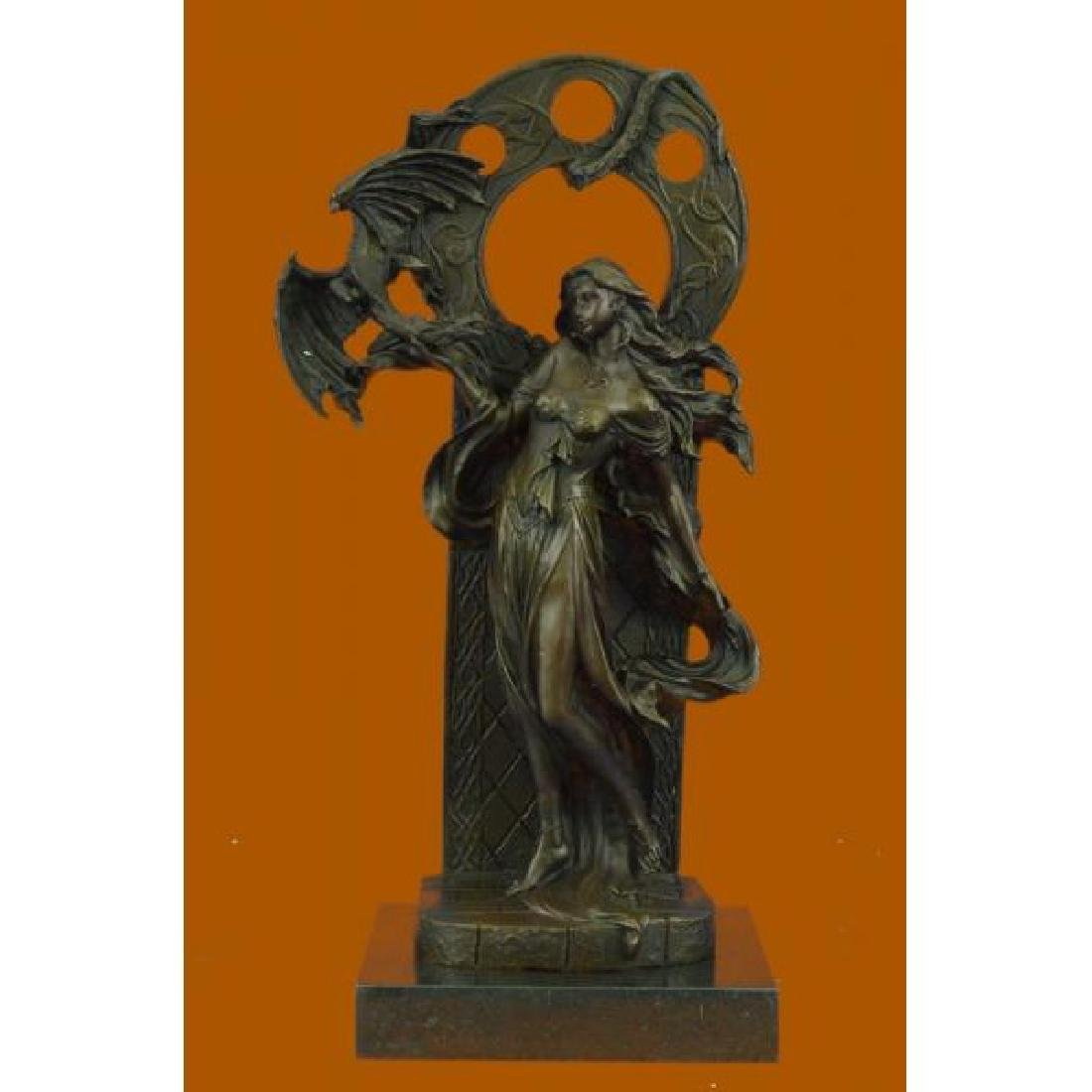 Dragon Girl French Artist Jean Patoue Bronze Sculpture