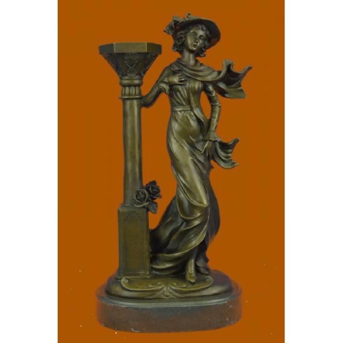 Victorian Hot Cast Bronze Art Nouveau Style Candlestick