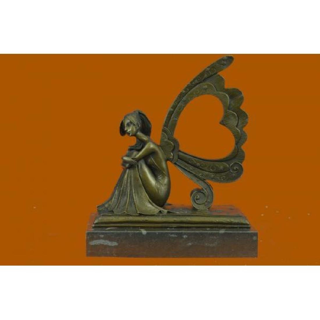 Art Nouveau Picture Frame Fairy Angel Bronze Sculpture
