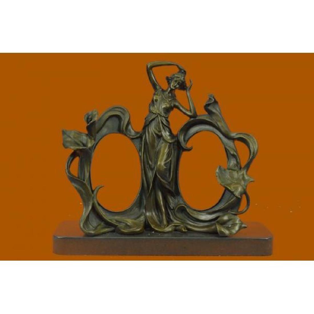 Art Nouveau Bronze Lady Figural Picture Frame Hot Cast
