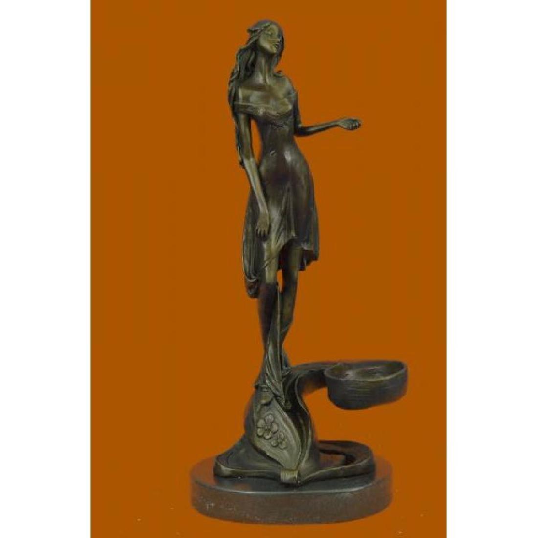 Art Nouveau Young Maiden Bronze Sculpture Figurine