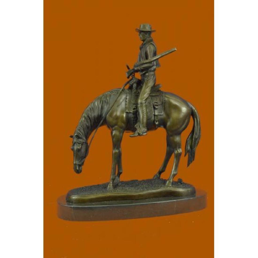 Western Cowboy Bronze Sculpture Horse Large Rodeo Rider