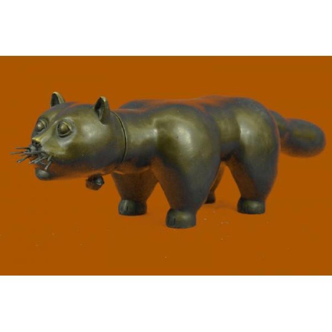 Extra Large Botero Cat Feline Bronze Sculpture Hot Cast
