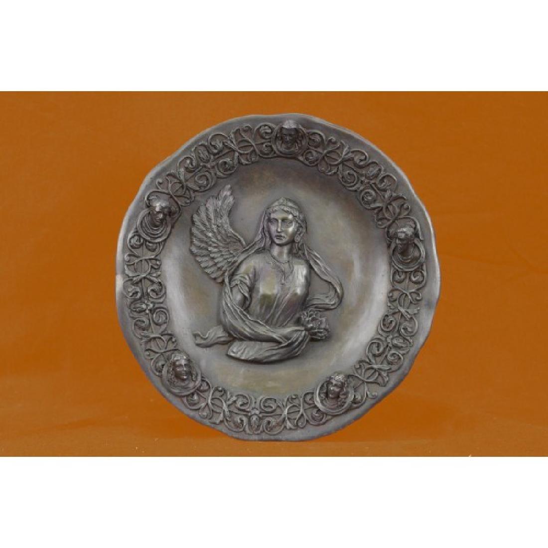 Bronze Sculpture Guardian Angel Bas Relief Protector