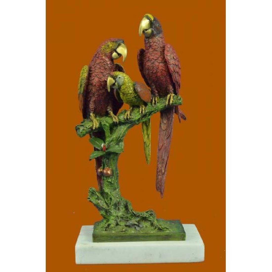 Handcrafted Brazilian Parrot Family Bronze Sculpture on