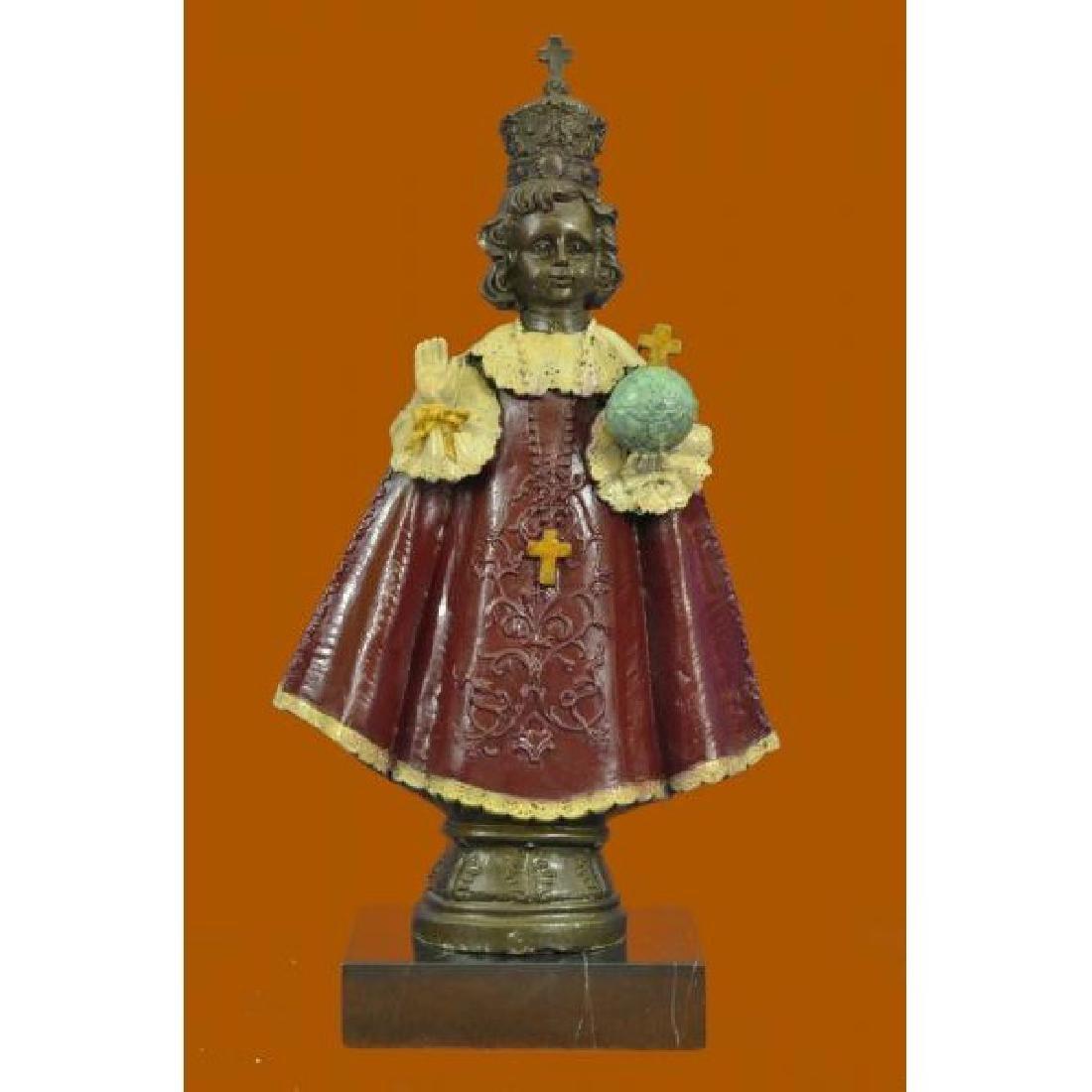 Art Deco Little Girl Holding Cross Religious Bronze