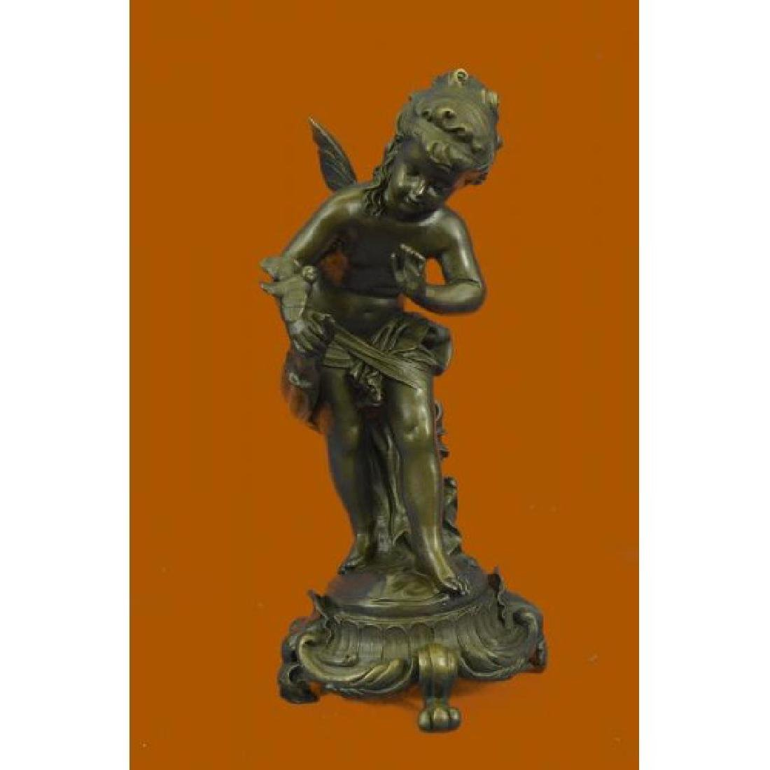 Hand Made Fairy Playing with a Bird Statue, 100% Bronze