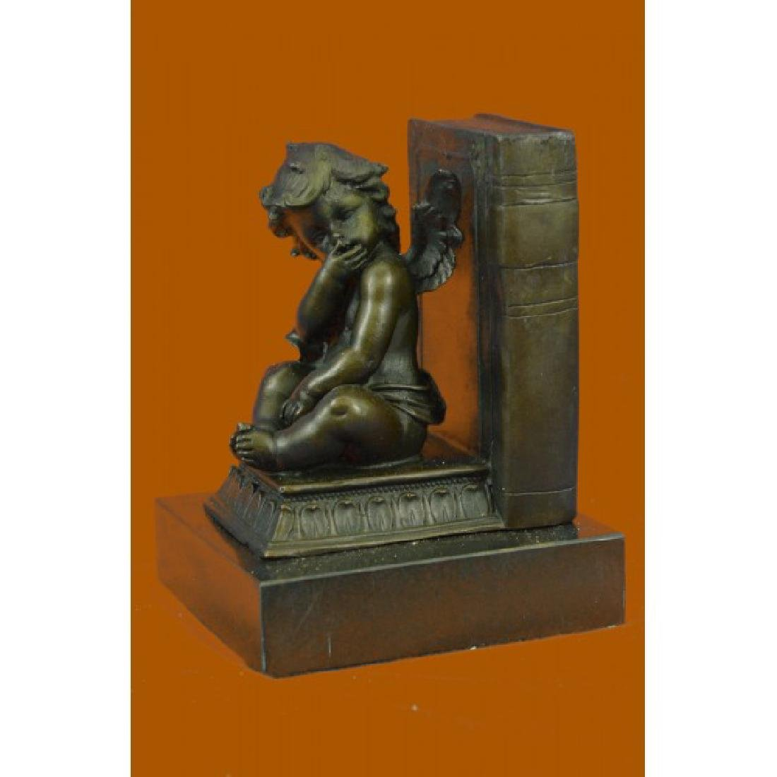 Moreau French Artist Baby Angel Bookend Book end Bronze