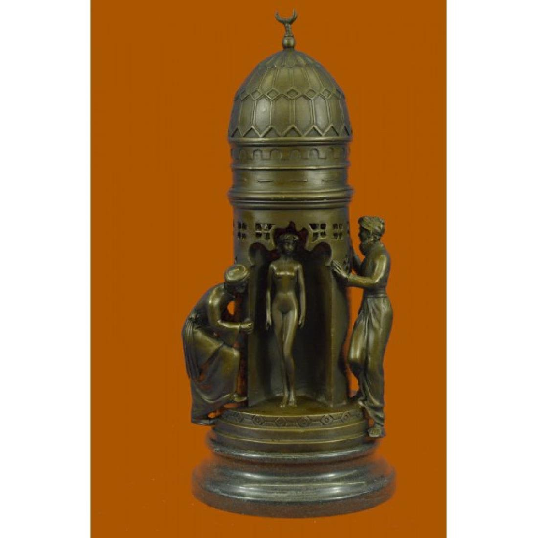 Oriental Peeping Ali Bronze Sculpture Harem Arab Men
